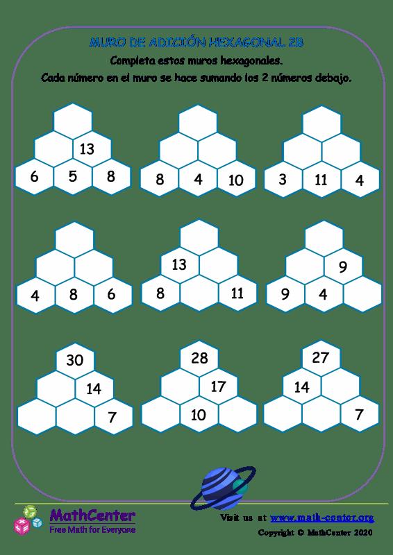 Muro de sumas hexagonal - Hoja 2 B