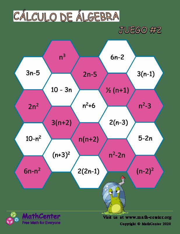 Juego de cálculo de álgebra N° 2