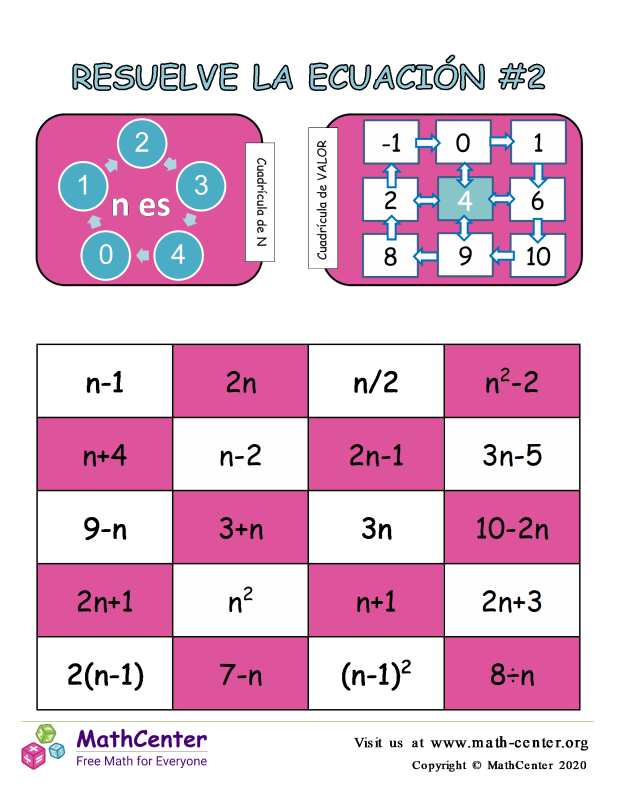 Resuelve el juego de ecuaciones # 2