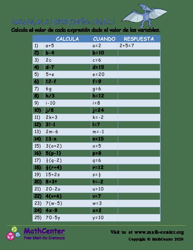 Calcula La Expresión Hoja 1
