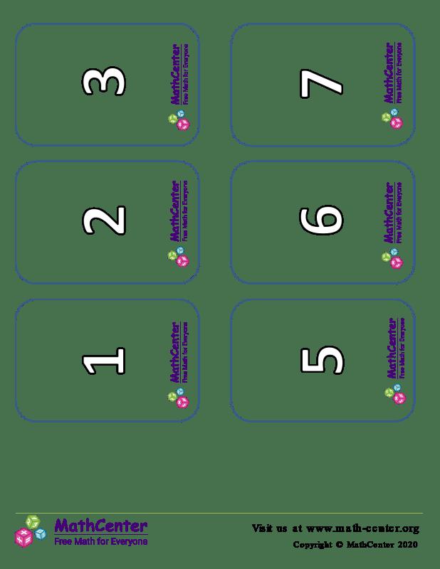 Tarjetas de dígitos del 0 al 15