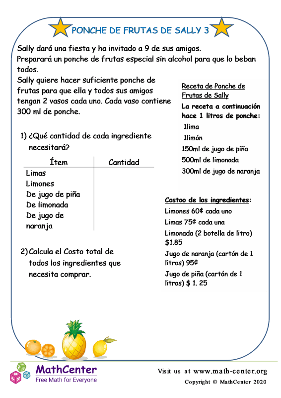 Desafío: El ponche de frutas de Sally 3 Estados Unidos