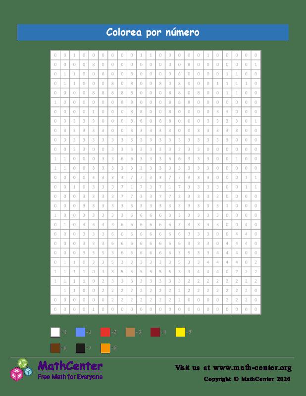 Cuadrícula para Colorear por números - Ciervo