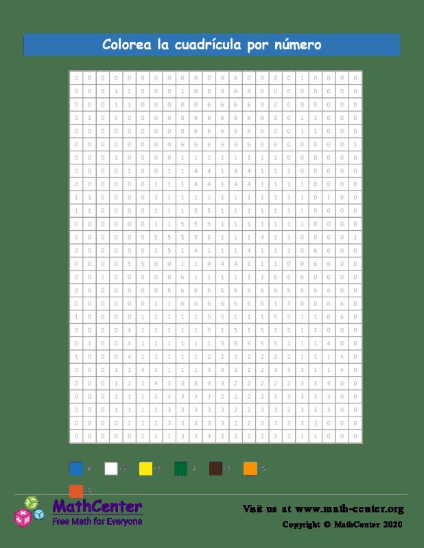 Cuadrícula para Colorear por números - Muñeco de Nieve