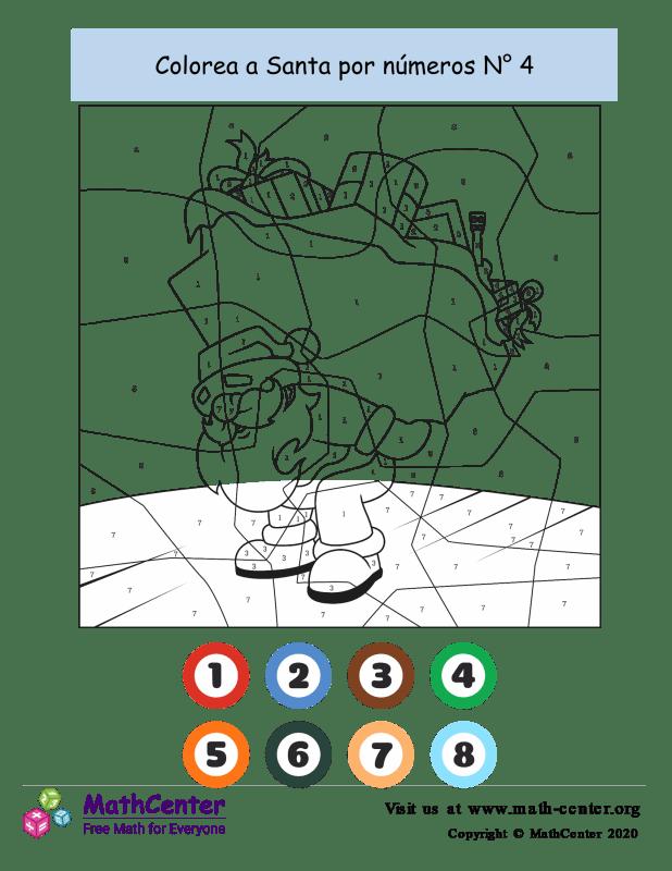 Colorear por números: Santa N° 4