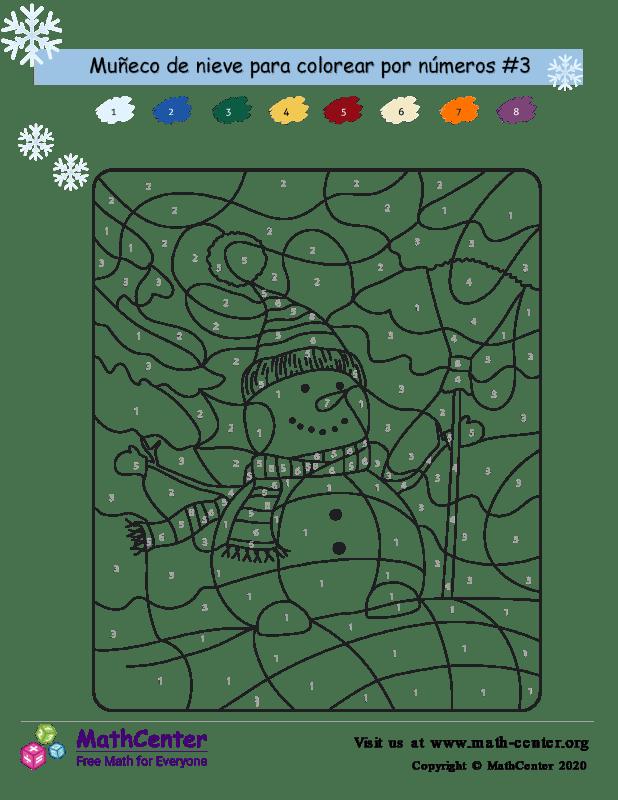 Colorear por números: muñeco de nieve 3
