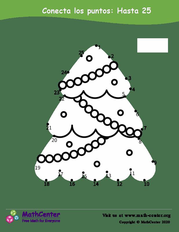 Conecta los puntos Hasta 25 - Árbol de Navidad
