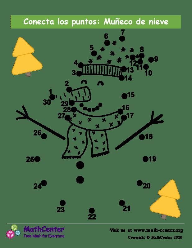 Conecta los puntos hasta 30: Muñeco de Nieve N°2