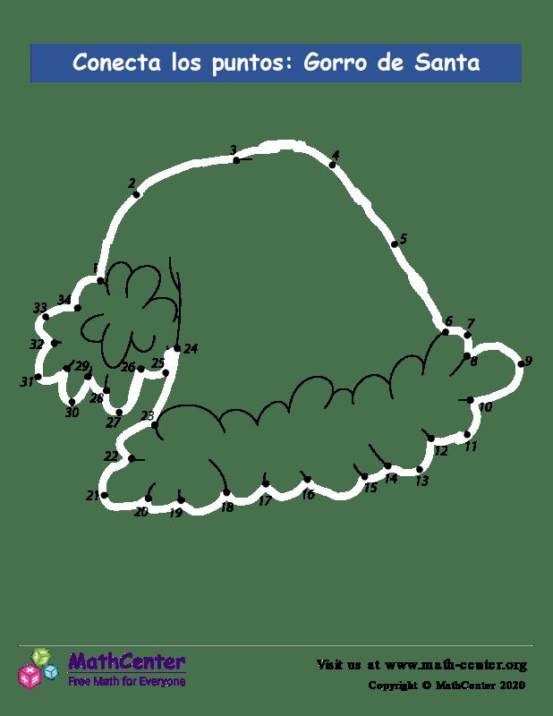 Conecta los puntos Hasta 34: gorro de Papá Noel