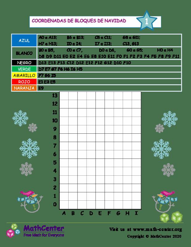 Coordenadas del bloque navideño N°1