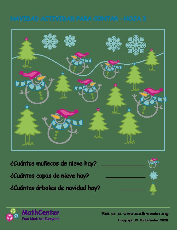 Navidad Actividad Para Contar Hoja 3