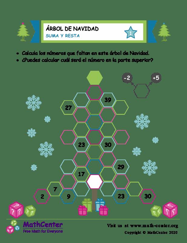 Suma y resta en árboles de Navidad - Hoja 1
