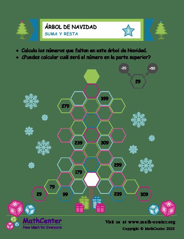 Suma y resta en árboles de Navidad - Hoja 3