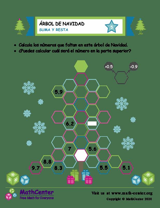 Suma y resta en árboles de Navidad - Hoja 5