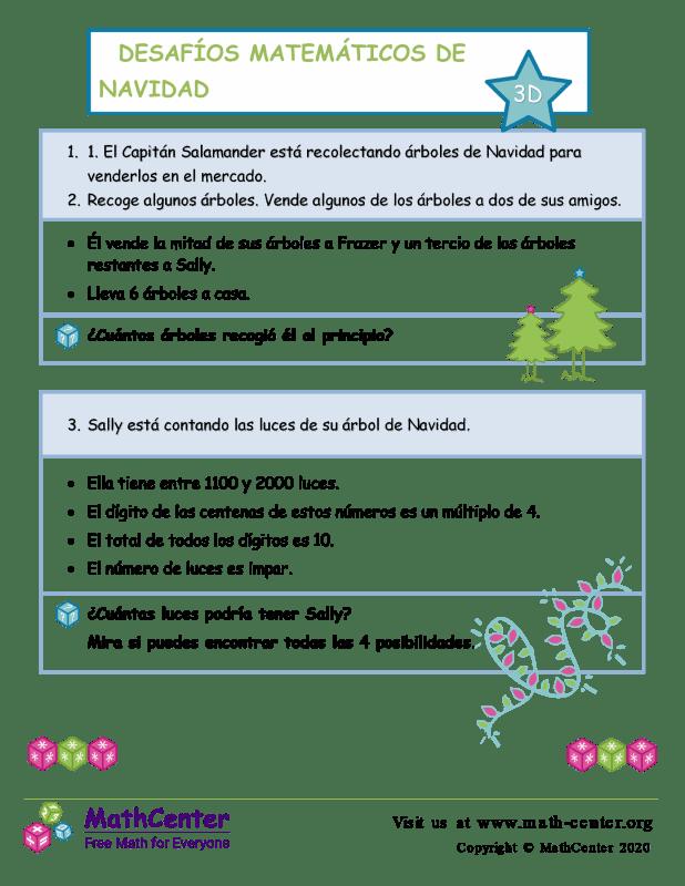 Desafío de matemáticas de Navidad n.º 3 D