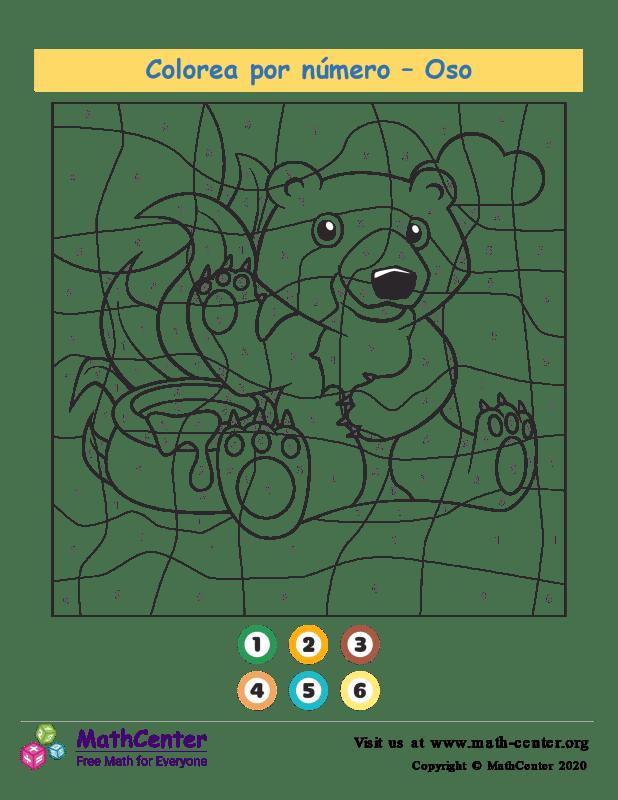 Colorear por números - Oso