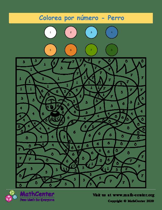 Colorear por números - Perro