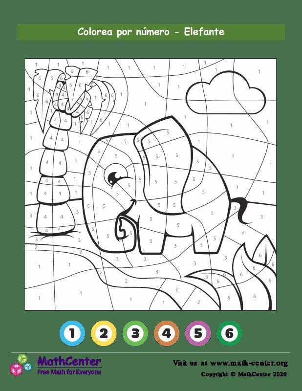 Colorear por números - Elefante