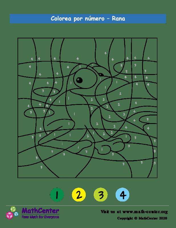 Colorear por números - Rana