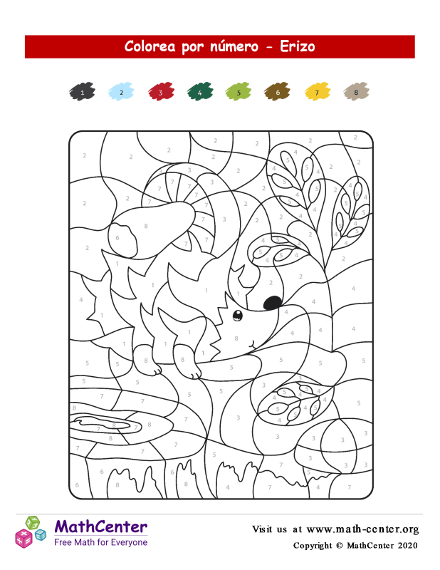 Colorear por números - Erizo