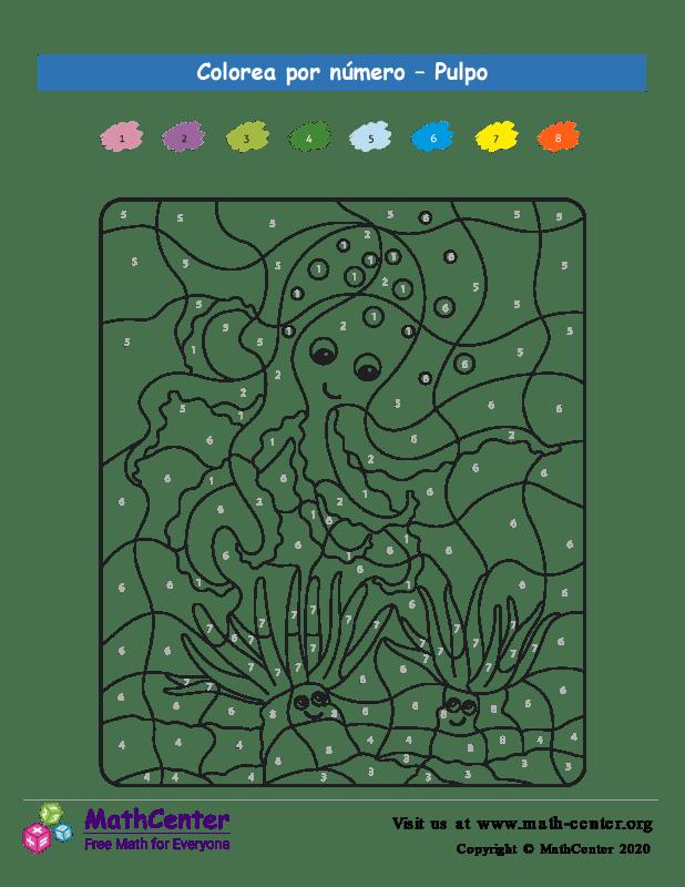 Colorear por números - Pulpo