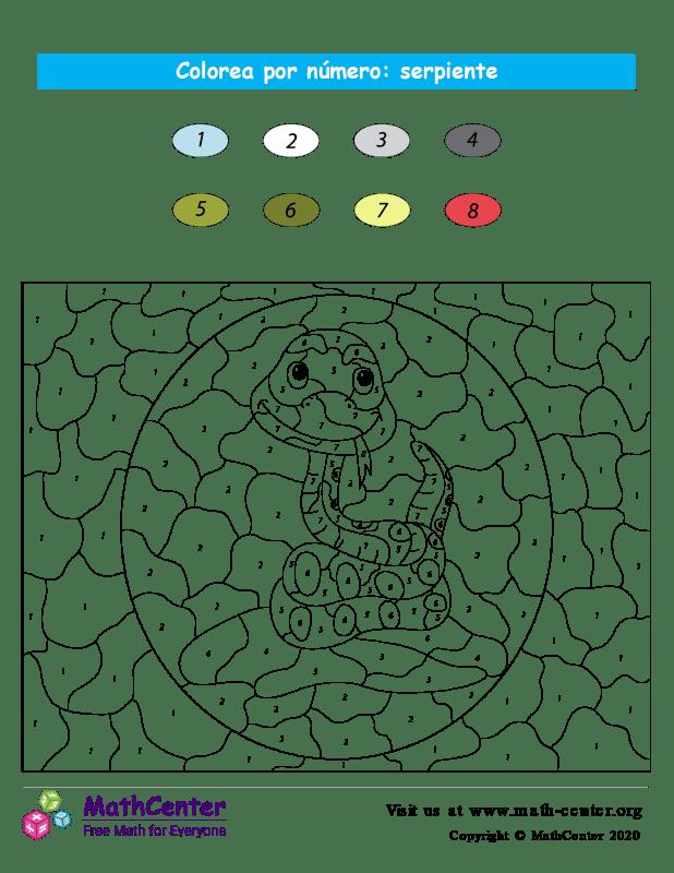 Colorear por números - Serpiente