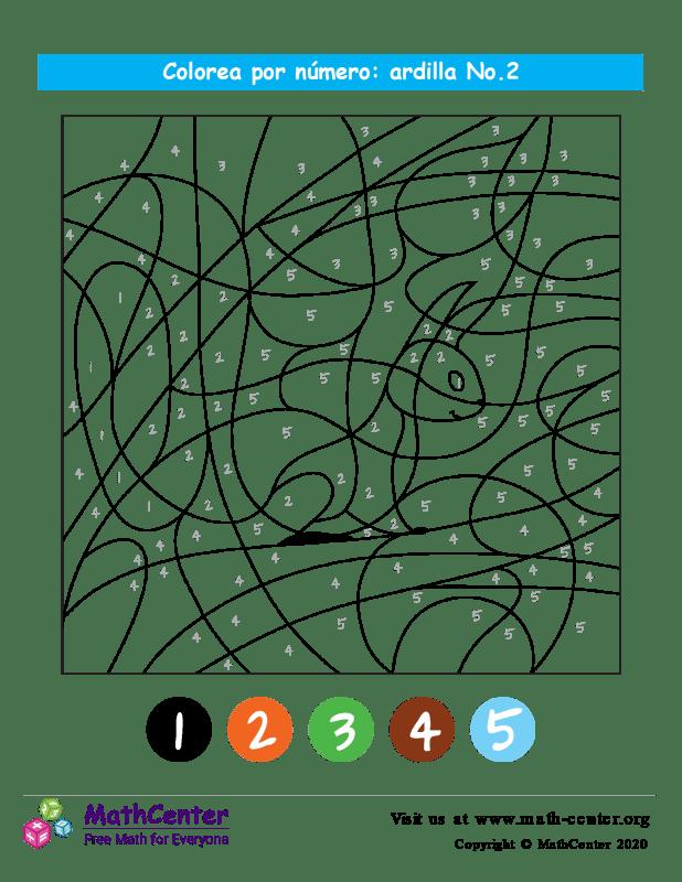 Colorear por números - Ardilla No 2