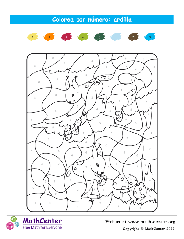 Colorear por números - Ardilla