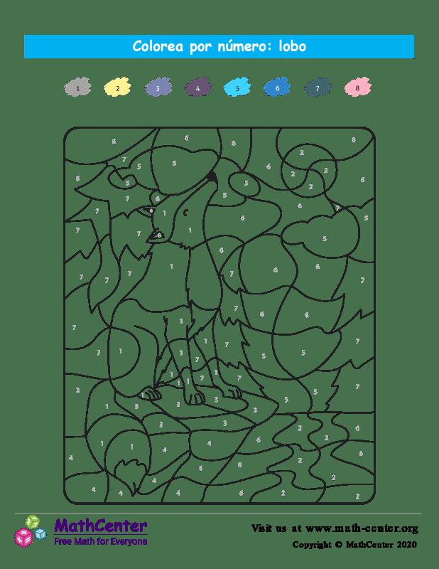 Colorear por números - Lobo