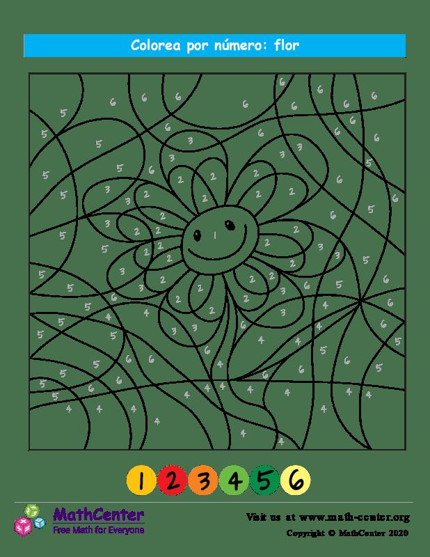 Colorear por números - Flor