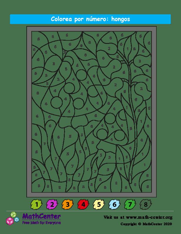 Colorear por números - Hongo