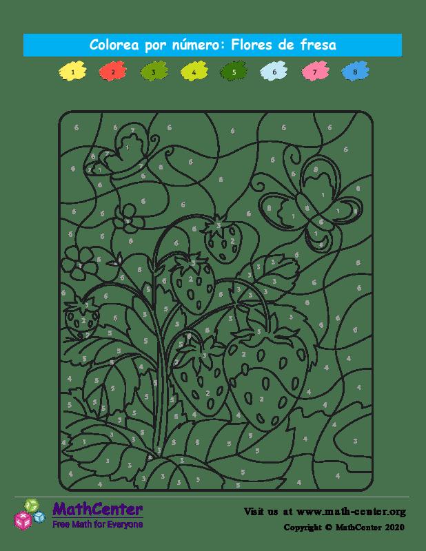 Colorear por números - Flores de fresa