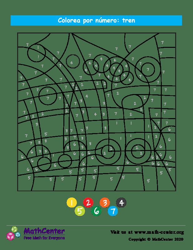 Colorear por números - Tren