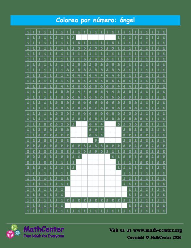 Cuadrícula para Colorear por números - Ángel