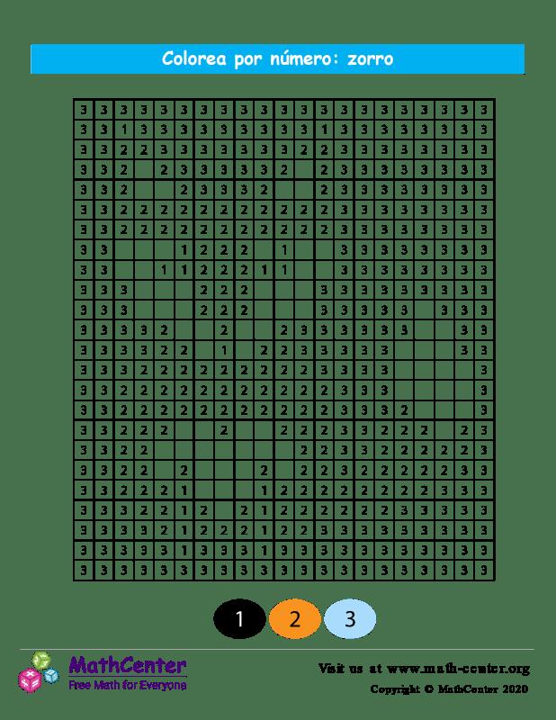 Cuadrícula para Colorear por números - Zorro