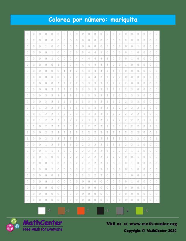 Cuadrícula para Colorear por números - Mariquita