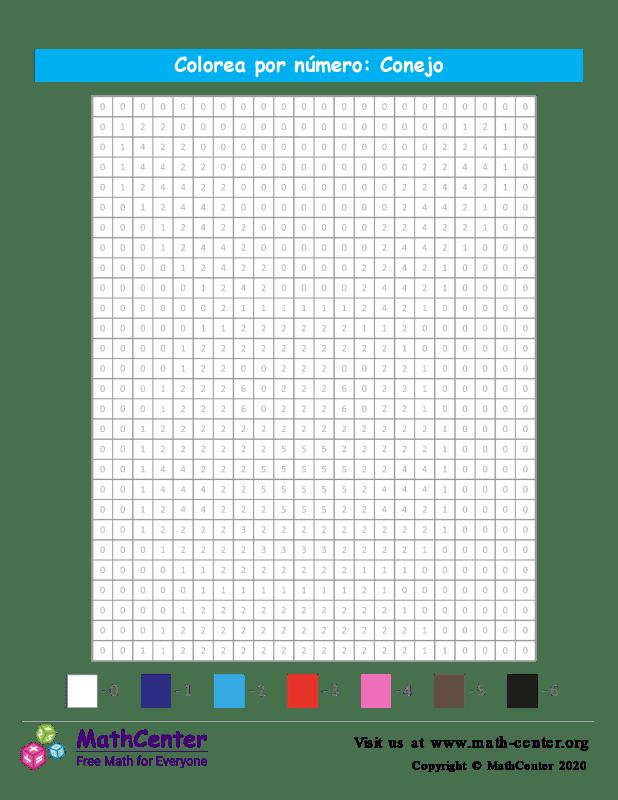 Cuadrícula para Colorear por números - Conejo