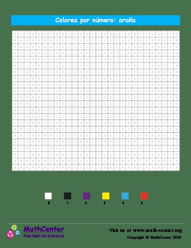 Cuadrícula para Colorear por números - Araña