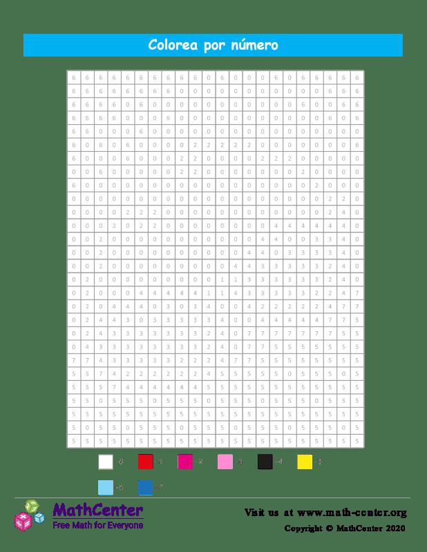 Cuadrícula para Colorear por números - Sol