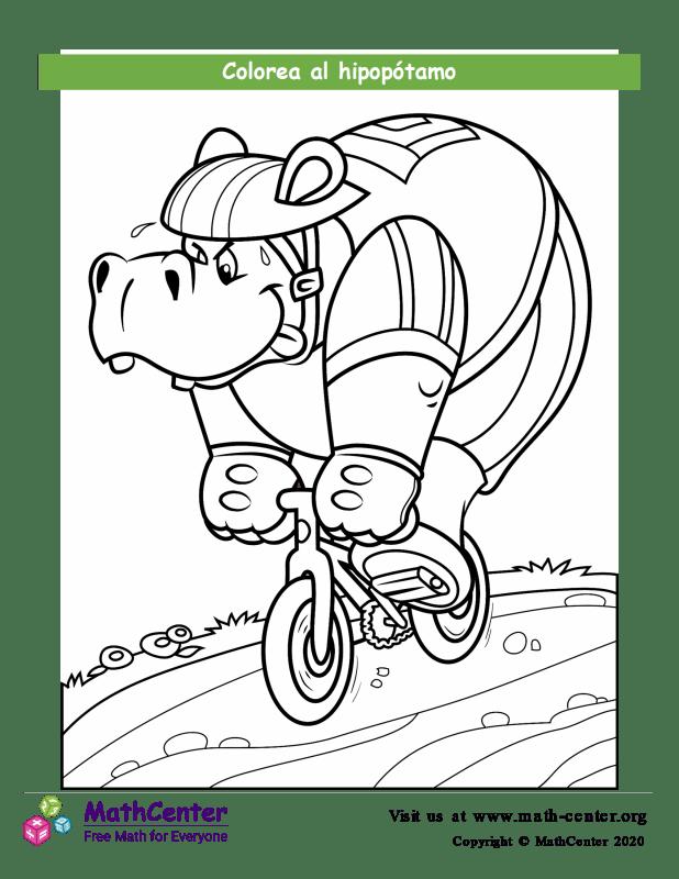 Colorear al hipopótamo a caballo