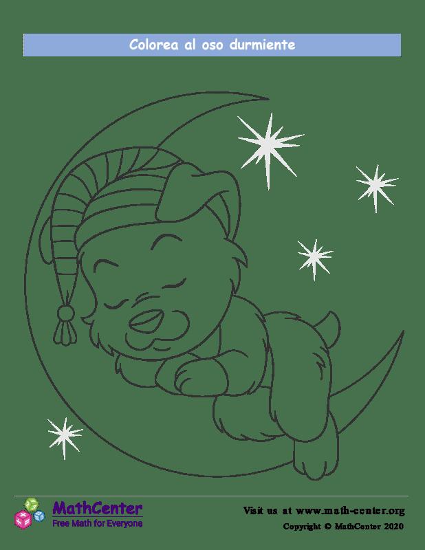 Colorear el oso durmiente