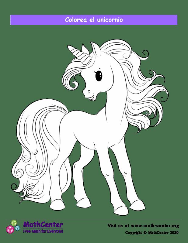Colorear el unicornio N° 1