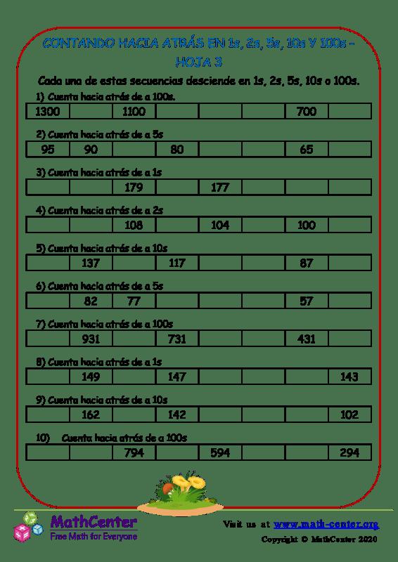 Contando Hacia Atrás En 1S, 2S, 5S, 10S Y 100S Hoja 3