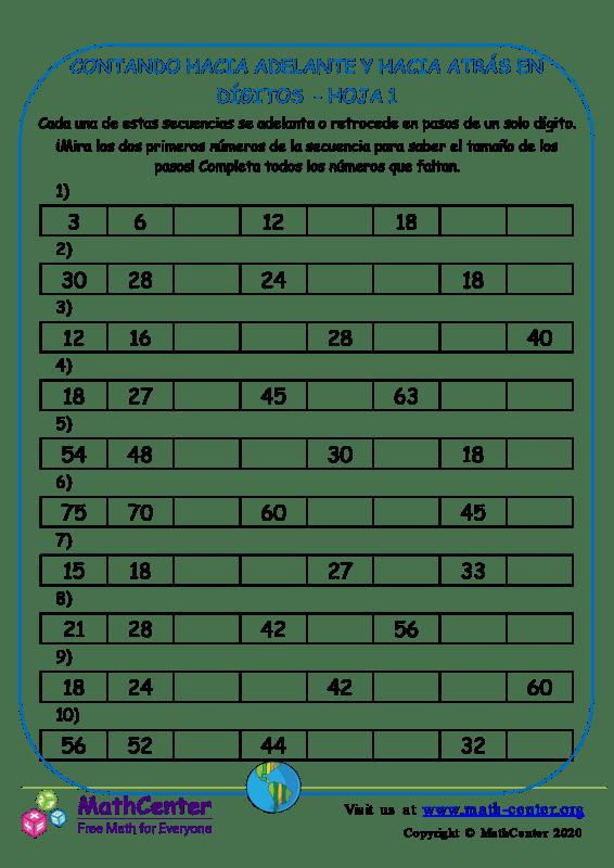 Contando Hacia Adelante Y Hacia Atrás En Dígitos Hoja 1