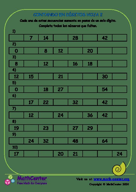 Contando En Dígitos Hoja 2