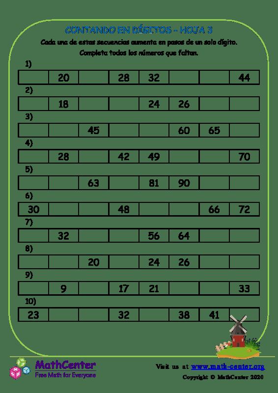 Contando En Dígitos Hoja 3