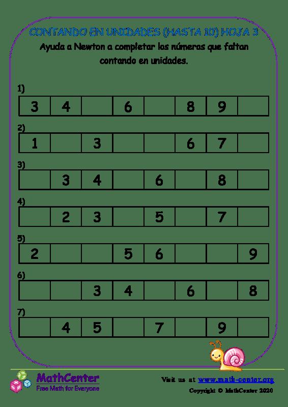 Contando En Unidades (Hasta 10) Hoja 3