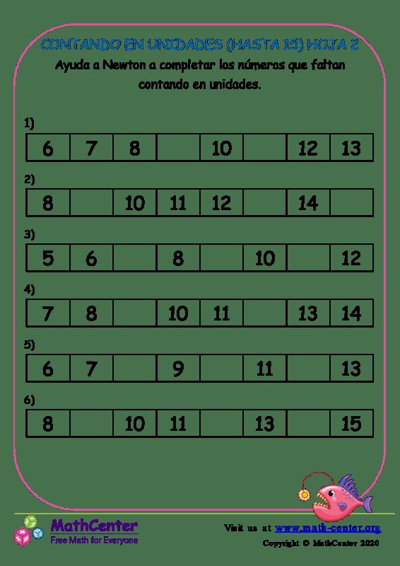 Contando En Unidades (Hasta 15) Hoja 2
