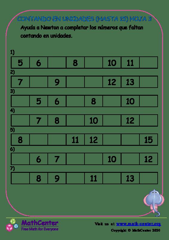 Contando En Unidades (Hasta 15) Hoja 3