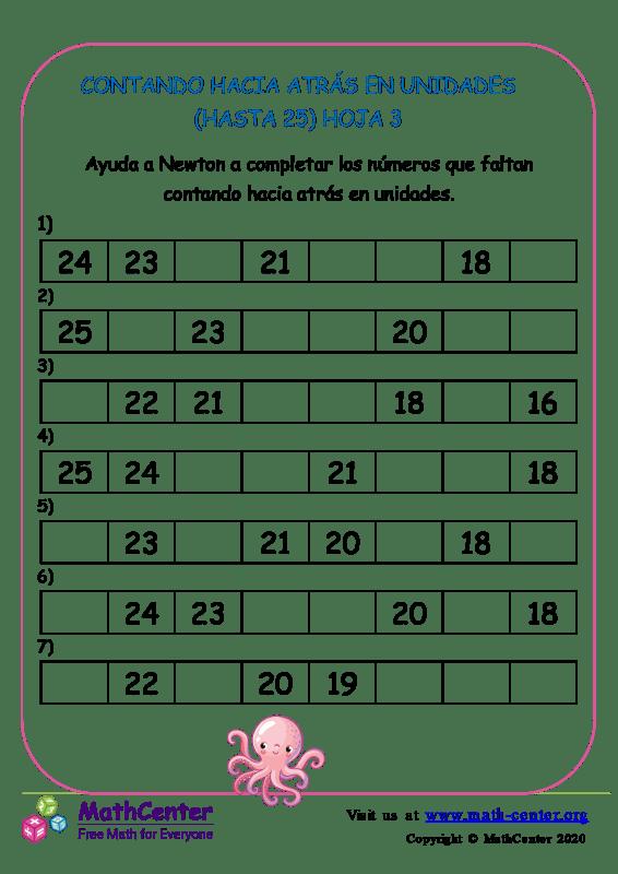 Contando Hacia Atrás En Unidades (Hasta 25) Hoja 3